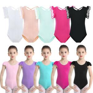 836475551 Image is loading Girls-039-Basic-Ruffled-Sleeves-Ballet-Dancewear-Gymnastics -