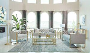 Low Profile Grey Velvet Gold Arms Sofa Loveseat Living Room Furniture Set Ebay