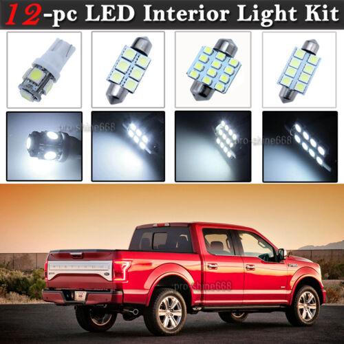 12-pc White 6K LED Car Interior Light Bulbs Package Kit Fit 2009-2014 Ford F150