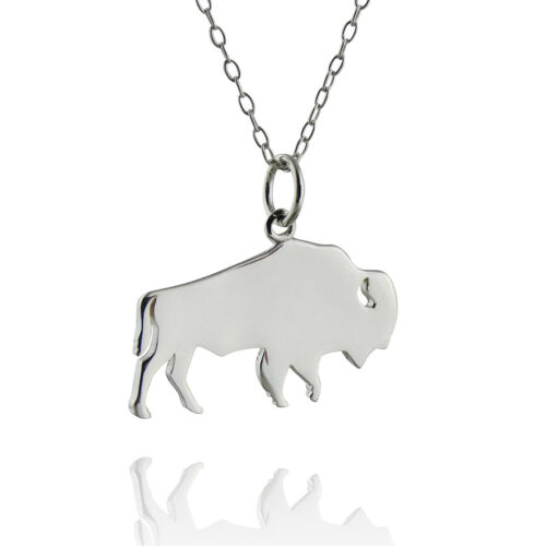925 Sterling Silver Buffalo Silhouette Necklace Pendant Wild Animal Bison
