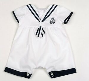 Baby boys clothes spanish style sailor romper white cotton 0-9 months