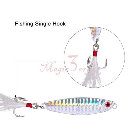 Lot 5 Metal Jigs Fishing Lure Kit  Surf Casting Saltwater Walleye Bass Pike