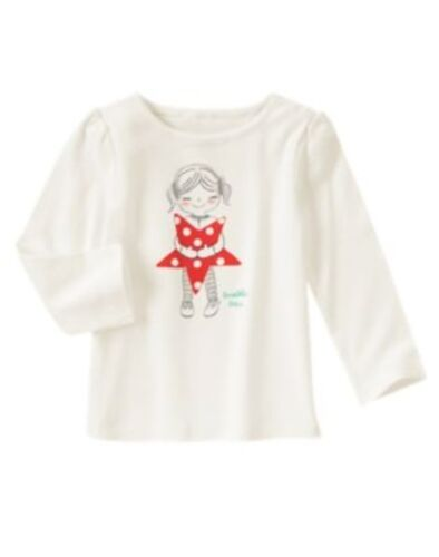 GYMBOREE HOLIDAY SHOP IVORY STAR N GIRL L/S TEE 6 12 2T 4T NWT