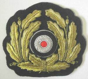 German Kriegsmarine Cap Badge Wreath WW2 Officers Bullion ...