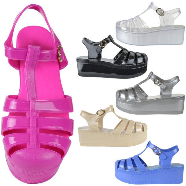 Women's Cutout Platform T-Strap Flatform Jelly Sandals w/ Ankle Strap Black