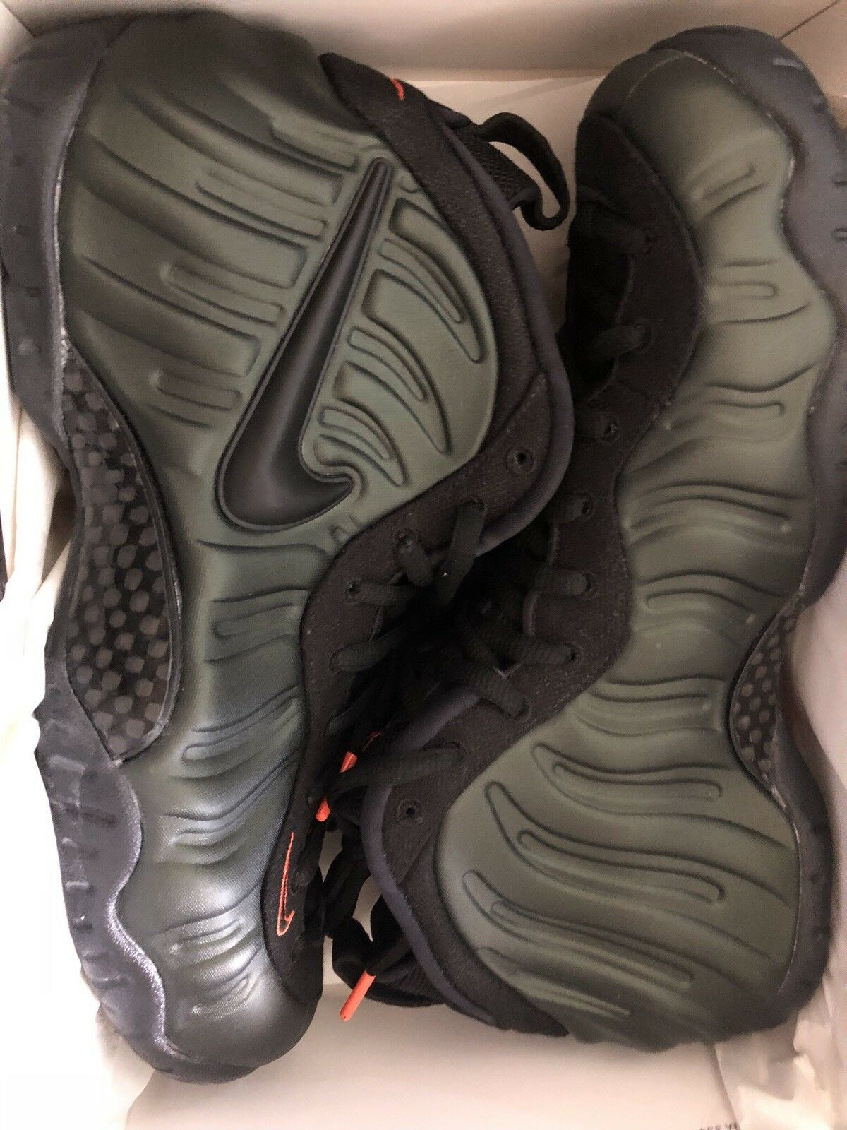 Nike Air Foamposite Pro Uomo Style 624041 Sequoia/ Nero- Team Orange Basketball