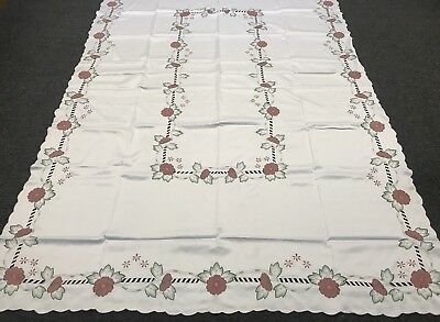 """72x108/"""" Embroidered Burgundy Flower Fabric Embroidery Tablecloth 12 Napkins 1428"""