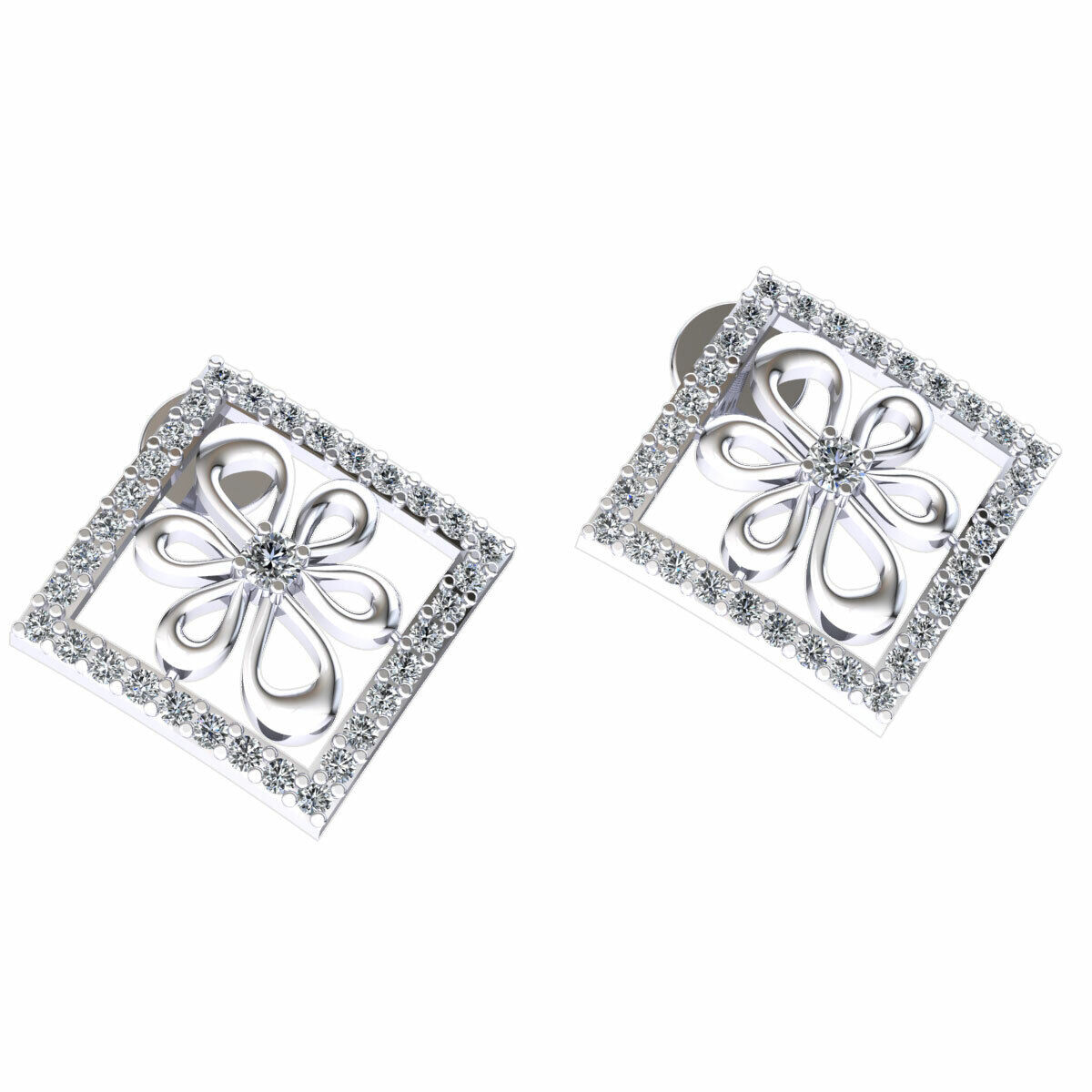 0.35ctw Genuine Round Cut Diamond Ladies Flower Square Earrings Solid 10K gold