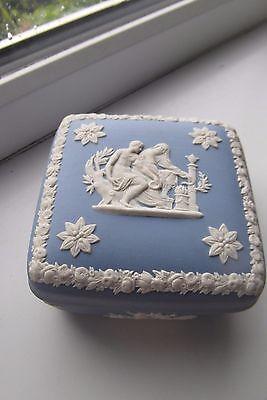 Wedgwood Trinket Box Jasperware Blue White Large Size British