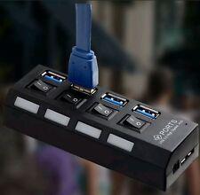 4 Ports USB 3.0 HUB 5Gbps Super Speed Compact External UK AC Power Adapter NEW