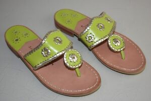 bdc0e49fcf6a NEW Jack Rogers Palm Beach Lime Green Platinum Gold Flat Sandals ...