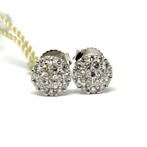 Boucles-D-039-Oreilles-or-Blanc-750-18K-Diamants-Carat-0-39-Bouton-Rond-Pave