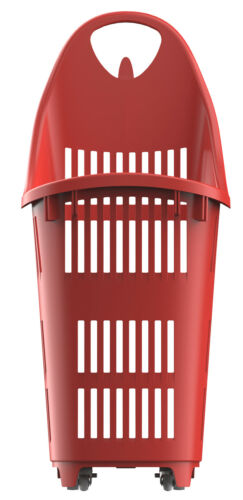 70L Rolling Shopping Baskets Black//Red//Blue