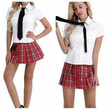 Plus Size SCHOOL GIRL MINI SKIRT Red Plaid TARTAN Collar /& Tie Costume QUEEN