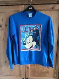 Vintage-Blue-Climb-Man-of-the-Year-Mickey-Mouse-Sweatshirt-Jumper-SIZE-M
