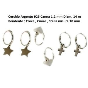 Orecchini-Cerchio-Argento-925-Uomo-Donna-con-Pendente-Croce-Stella-o-Cuore