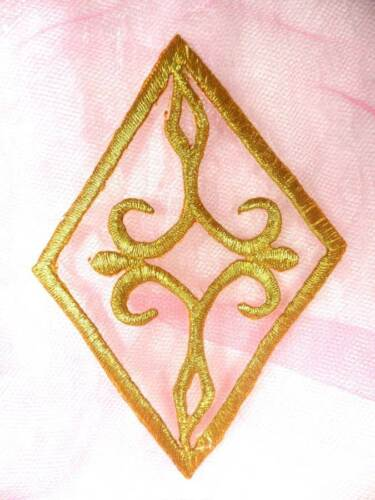 "Gold Metallic Embroidered Applique Diamond Sewing Iron On Patch 4.25/"" GB348"