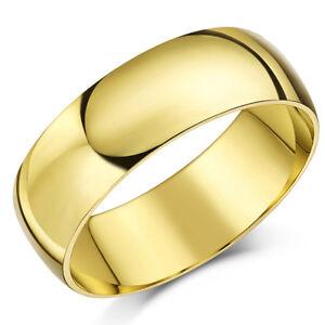 9Ct-Anillo-Oro-Amarillo-Peso-Ligero-Forma-de-D-Alianza-7mm-Oro-Hombres-Anillo