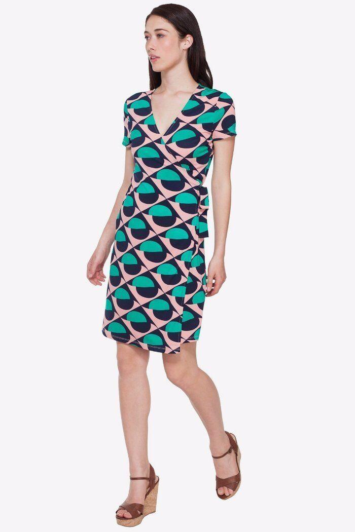 Ava Navy Green Pink Geometric Abstract Print Jersey Wrap Dress XS 0 2 NEW A867