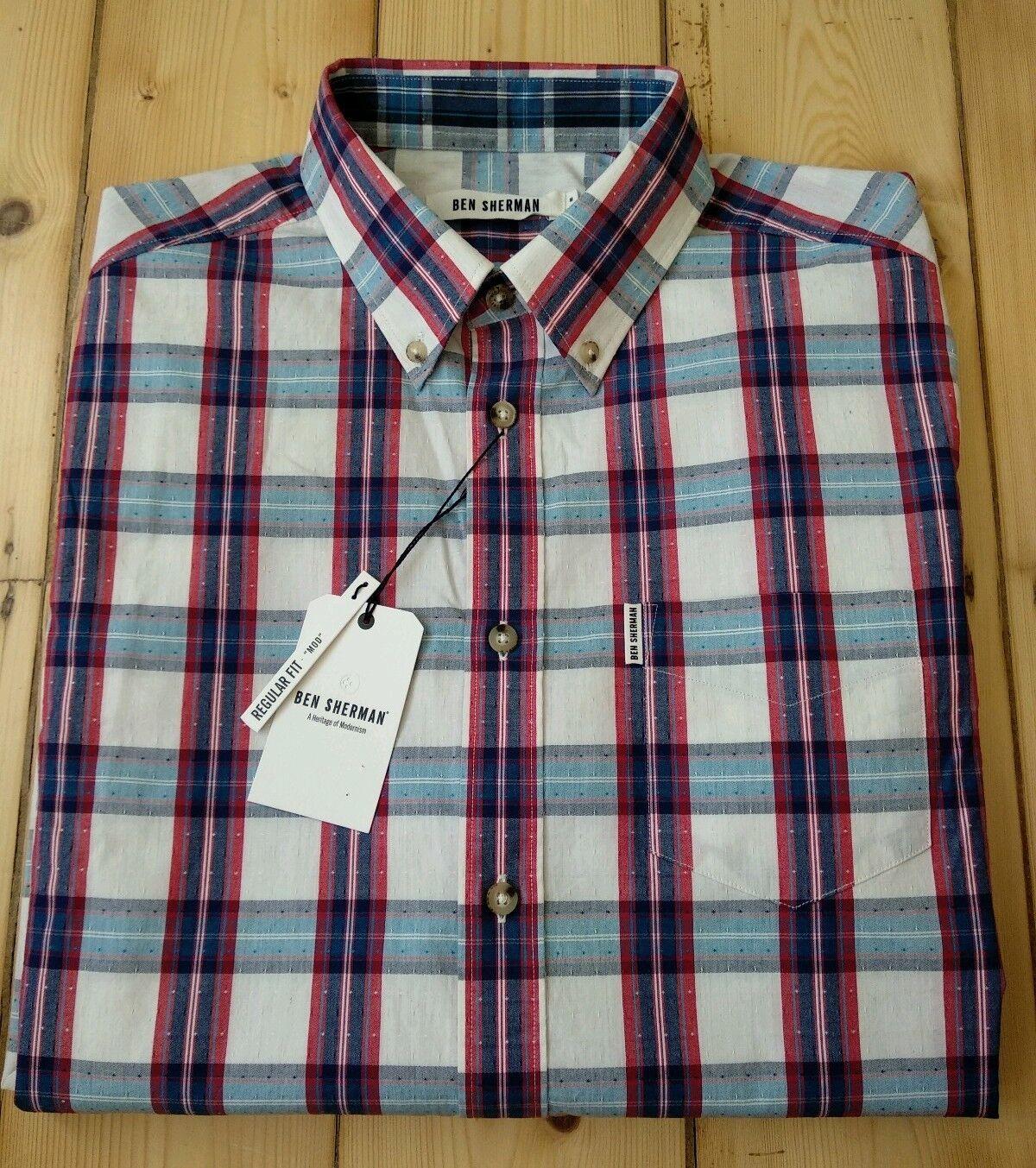 Ben Sherman Uomo Bianco Blu Rosso Check Camicia .100% Cotone. manica Lunga. medio. NUOVO