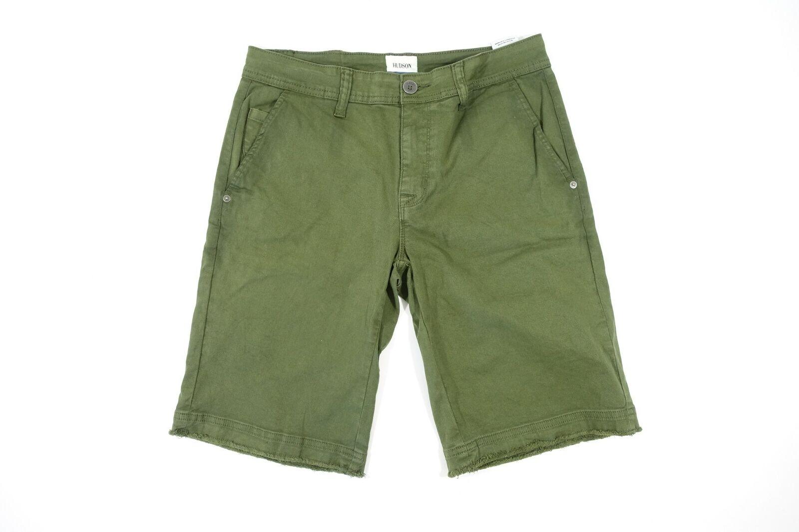 Hudson Grün 18 Abgeschnitten Unten Twill Chino Stil Shorts Damen Neu