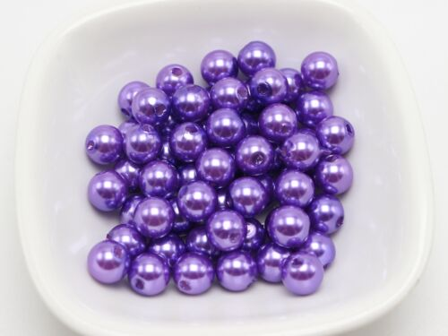 200 Pcs 8mm Plastic Faux Pearl Round Beads Purple Imitation Pearl