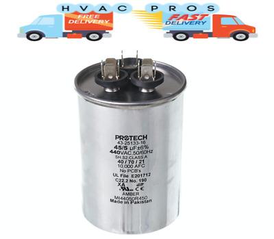 GE Genteq Dual Run Capacitor Round 45//5 uf MFD 440 Volt VAC 27L889 27L889BX