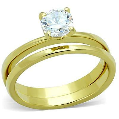 Gold Ring Wedding Set 14K IP AAA Round Cut Solitaire Size 5-10