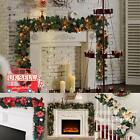 2.7M Gold Christmas Garland Decoration Xmas Decorated Fireplace Tree Pine Light