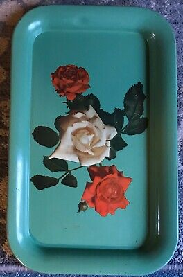 Old Vintage Yellow Metal lap Tray w Red /& White Roses Serving Tray