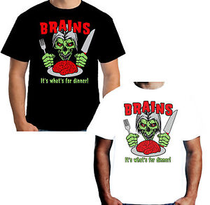 New-Mens-T-shirt-Zombie-Brains-It-039-s-What-039-s-For-Dinner-Walking-Dead-Horror-S3862