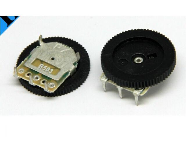 5pcs Volume Dial Dual Wheel Duplex Potentiometer B503 50K Radio 2-Channel Stere