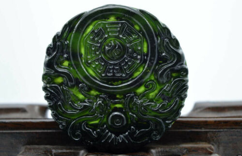 Fine China/'s natural jade nephrite carving black jade pendant Double Dragon