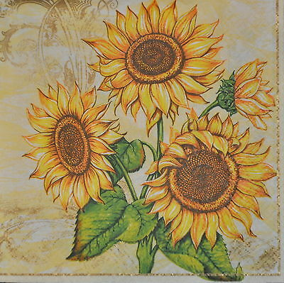 4 single lovely PAPER NAPKINS for decoupage/ SUNFLOWERS yellow