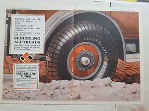 1926-Seiberling-All-Treads-Car-Tires-Tubes-Two-Page-Color-Original-Ad-AS-IS
