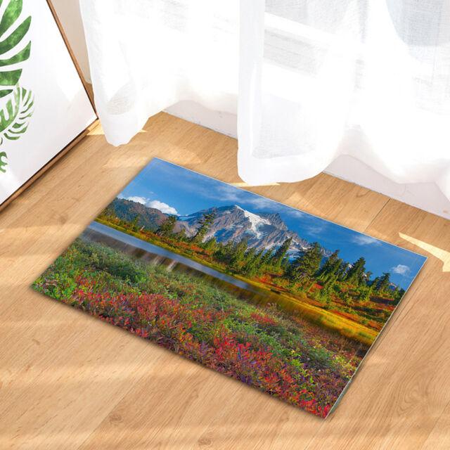 Red Flower Mountain Forest Bathroom Rug Bedroom Carpet Bath Mats Rug Door Mat