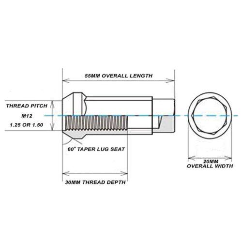 Godspeed 20pc Type 3-X 55mm Forged Rim Wheel Tuner Lug Nuts 12x1.5 Neo Chrome a