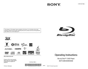 Sony bdp-s6500 blu-ray player owners manual $18. 99 | picclick.