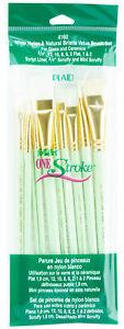 Plaid-FolkArt-One-Stroke-White-Nylon-amp-Natural-Bristle-Value-Brush-Set-4160