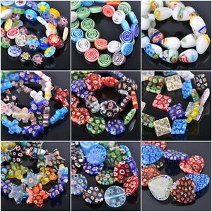 Millefiori-Lampwork-Glass-Loose-Spacer-Beads-Charms-Findings-Random-Mixed-Colors
