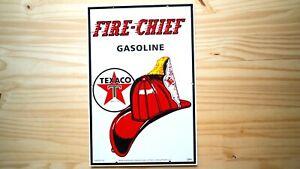 VINTAGE-FIRE-CHIEF-TEXACO-GASOLINE-PORCELAIN-SIGN-GAS-OIL-SERVICE-STATION-RARE