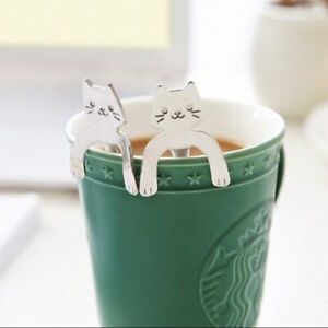 Silver-or-Gold-or-Rose-Gold-Cat-Spoon-Tea-or-Coffee-Cute-Gift-USA-Seller