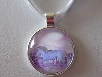Silver Plated Glass Cabochon Unicorn 25mm Pendant White Organza Cord Necklace
