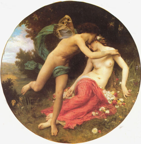 Oil painting Bouguereau Young lovers Angel/'s Kiss /& flowers in landscape ART