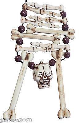 New Skull Bone Jewellery Necklace Halloween Caveman Fancy Dress Accessory