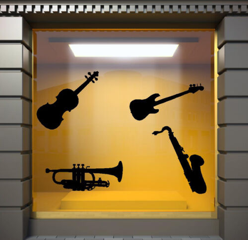 N133 SHOP WINDOW STICKERS WALL QUOTE MUSIC INSTRUMENTS WALL STICKERS