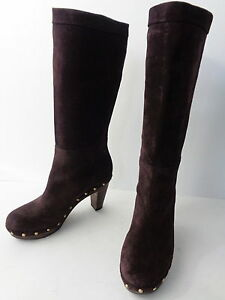 Womens-6M-Brown-SUEDE-WOOD-CLOG-MID-CALF-HIGH-HEEL-BOOT-Banana-Republic