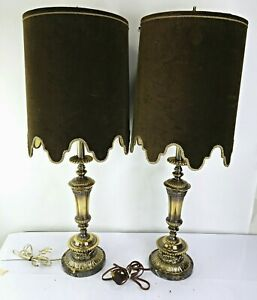 Vintage Brown Bronze Marble Granite Brass Candlestick Table Lamps Pair Stone