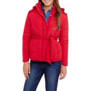 Trim Puffer Frakke Xl Hooded Fur 841080135141 Faux Bælte Med Størrelse Klima Koncepter Kvinders qwfXnzfIH