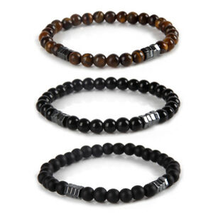 Natural-Tiger-Eye-Obsidian-Stone-Beaded-Hematite-Charm-Bracelet-Gifts-Jewelry